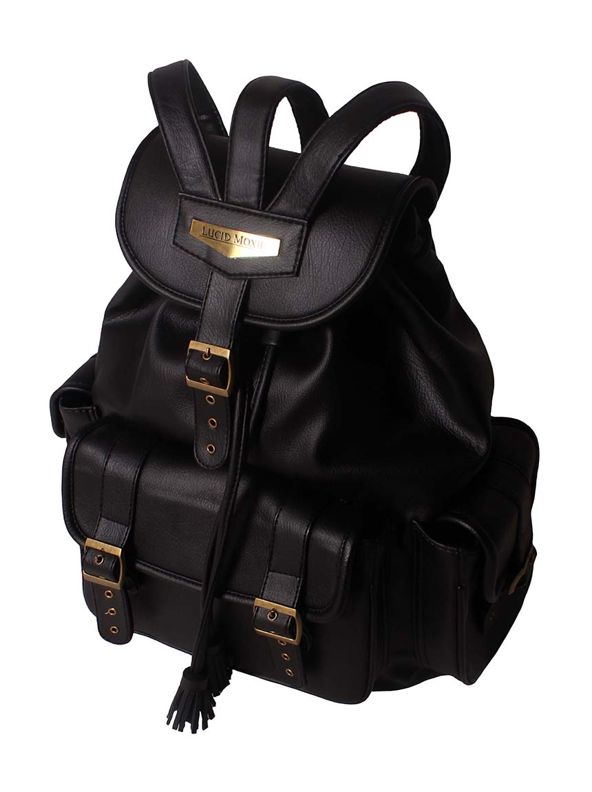 Lucidmoxie accessories and bag Sid Black Crowned Backpack street style urban fashion backpack